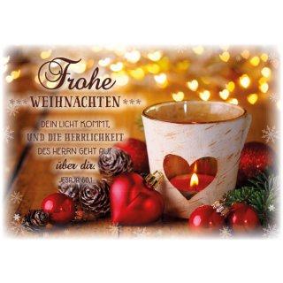 Postkarte Herzkugel Windlicht Zu Weihnachten 1 00