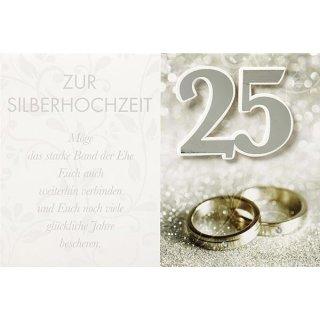 Doppelkarte Silberhochzeit Ringe 3 50